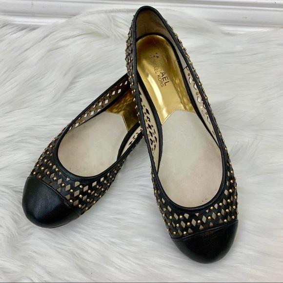 9eb8c516fd29d Michael Kors Shoes | Black Studded Lasercut Ballet Flat | Poshmark